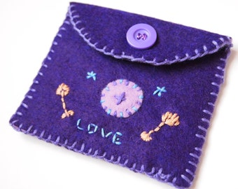 Wool Felt Coin Purse/Wallet/Pouch Embroidery