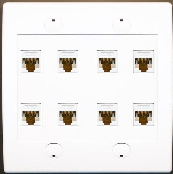 Riteav 8 Port Flat White Dual 2 Gang Ethernet Cat6 Rj45