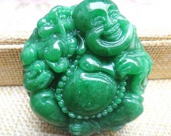 Natural light green jade Buddha pendant Laughing Buddha Maitreya