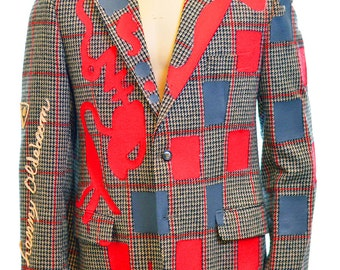 Hand painted men's houndstooth jacket red and grey designs