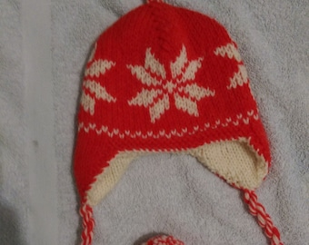 Red Snowflake christmas hat