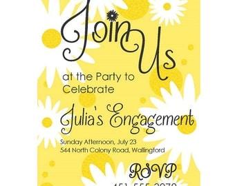 Personalized Printed Daisy Bridal Shower Invitations. Bride. Daisy Shower. Invitation. Yellow. White. 5 X 7 Invitation.