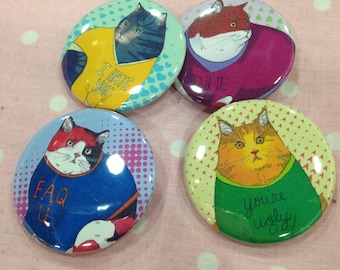 Cats in mean sweaters buttons set