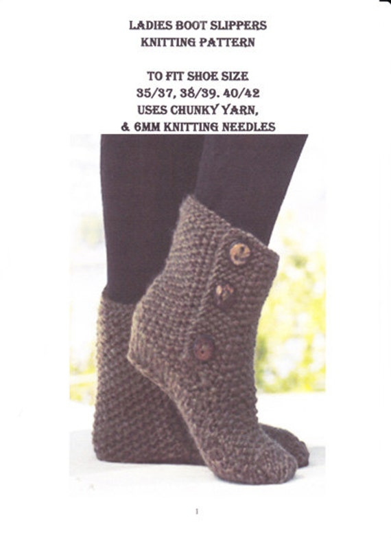 Knitting Pattern Ladies Slipper Boots : Knitting Pattern pdf Ladies Slipper Boots in by NostalgicStyles
