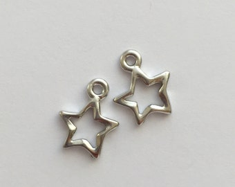 2 Silver Open Star Charm, Pewter, package of 2
