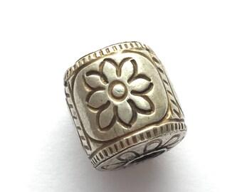 Thai/Khmer Silver Cylindrical Flower Vintage Bead 15mm