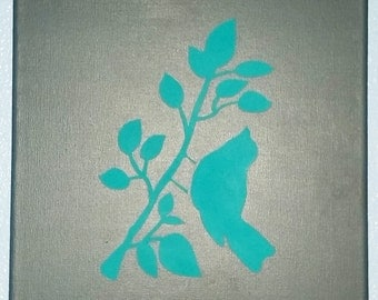 Bird Silhouette Painting 12X12 Canvas Painting Wall Art Blue Bird with Gray Background Picutre