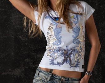 Blue Angel Glam Rock Artistic Unique Women T-shirt Serigraphy Print White Shirt