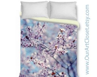 Cherry blossom duvet cover, king duvet cover, queen duvet cover, spring bedding, spring blossom, tree branches, blue white pink lavender