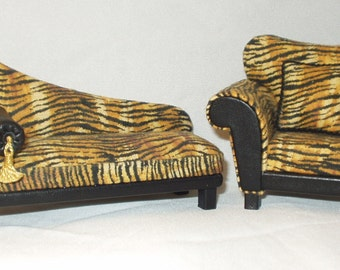 Furniture set, sofa and modern armchair with striped fabric and leather, 1/12 scale
