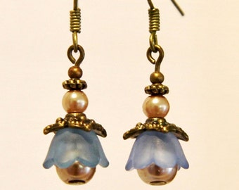 Lucite, pearl and bronze little dangle earrings