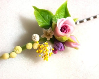 Flower Bobby Pin - Miniature Rose, Lily of the Valley, Flowergirl Gift