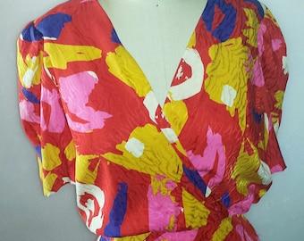 Reserved Women's vintage Liz Claiborne  100% silk wrap style dress