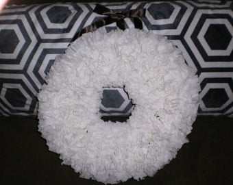 White Coffee Filter Handmade Wreath