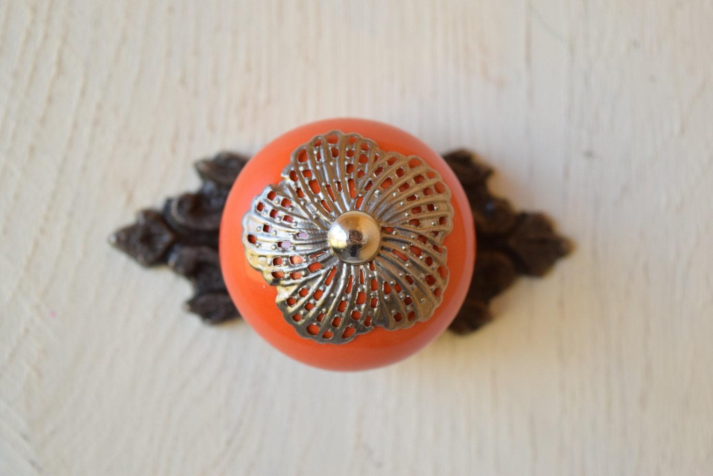 Baroque dresser drawer knobs in burnt orange with silver for Baroque door handles