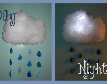 Hand-made large cloud night light / mobile! Colorful! Customizable! Adorable!