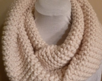 Cream Hand Knitted Infinity Scarf.  Thick and Chunky Scarf. Hand Knitted Scarf. Winter Accessories. Acrylic Scarf.