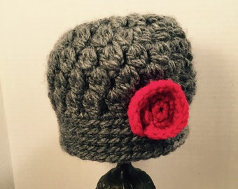 Baby Beanie Slate with Red Accent