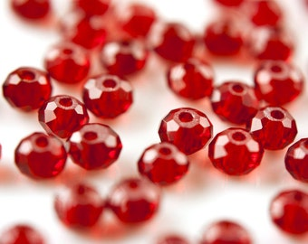 1070_Red glass beads 6x4 mm, Crystals, Transparent rondelle beads, Rondelles, Beads, Red beads, Faceted beads, Faceted crystals, Glass.