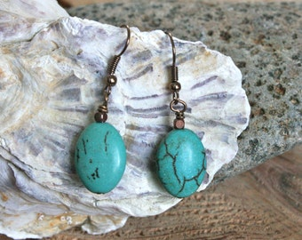 Arequipa earrings, turquoise jewelry, turquoise earrings, boho earrings, bohemian jewelry, rustic jewelry, howlite earrings, modern jewelry