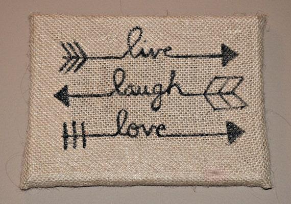 Live Laugh Love Arrows Burlap Home Decor