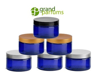 Cobalt Blue Low Profile PET Plastic Empty Cosmetic Jars 4 Oz 120 mL w/ Silver Black Copper Caps Sugar Scrub, Bath Salts, Hair Conditioner