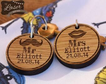 Laser Cut & Engraved Wooden Mr and Mrs Keyring's Set of 2