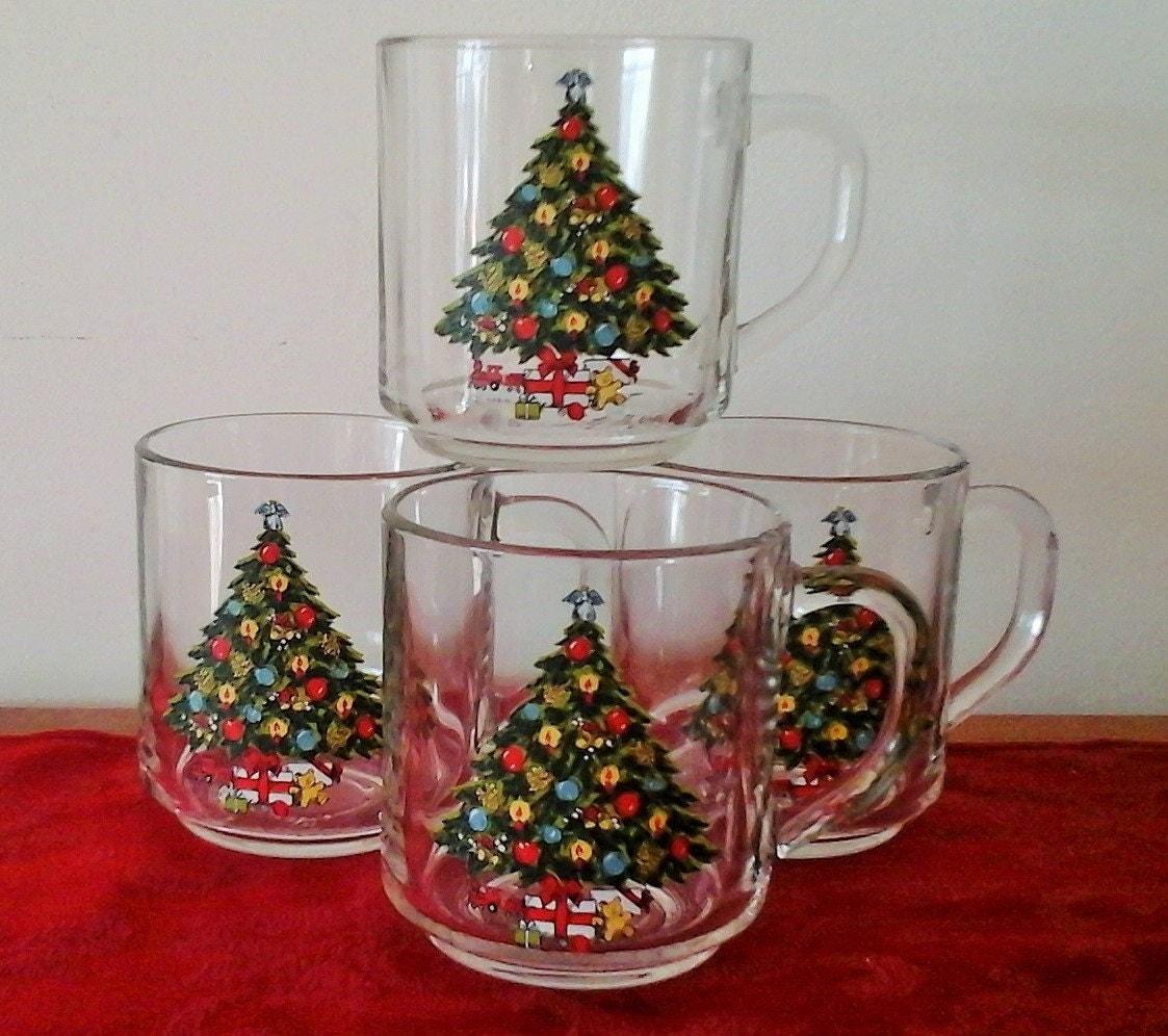 Set of 4 Vintage Christmas Tree Mugs