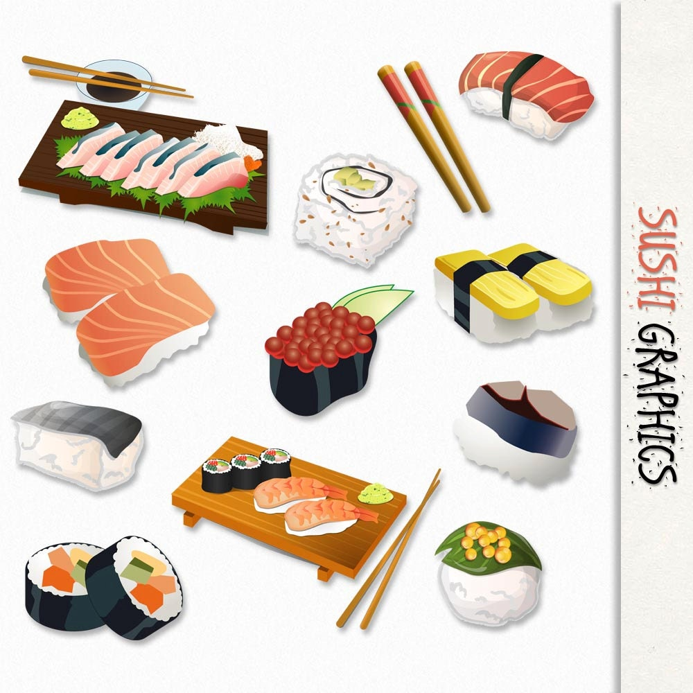 Sushi Graphics Japanese Food Clip Art Clipart Scrapbook