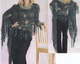 Knitted Shawl Pattern, Shawl Knitting Pattern, Knit Shawl Pattern, Trendsetter Yarns Lane Borgosesia Knitted Openwork Lace Shawl Pattern