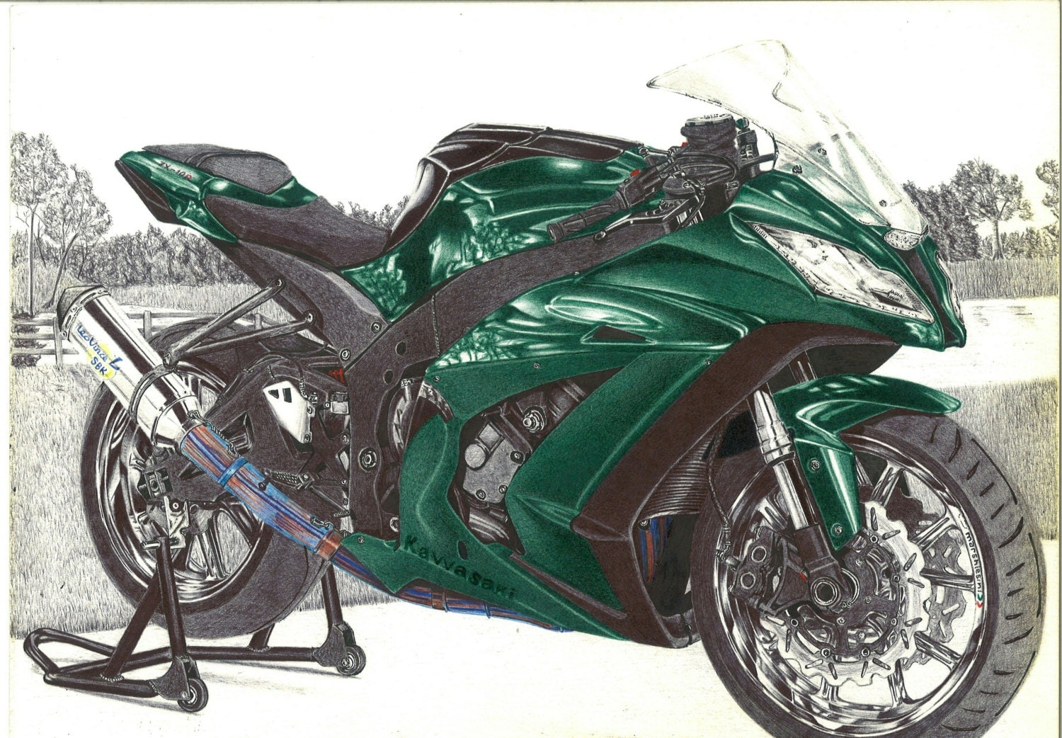 Street Bike Drawings Ink Drawing Surrealistic