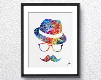Hipster Style Design Inspired, Wall Decor, Watercolor Print, Item 032