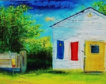 Acadian scene with flag