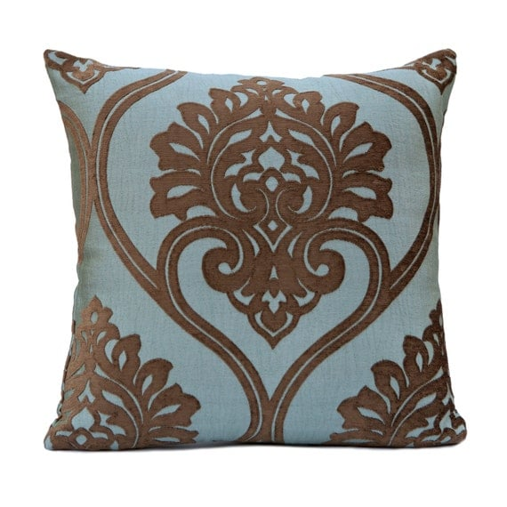 Brown and Blue Pillow Throw Pillow Cover Decorative by SHPillows