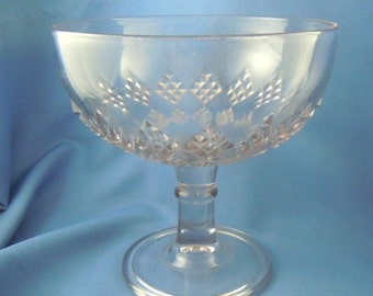 Antique compote molded glass diamond design