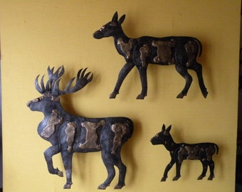 Set of decorative wall reliefs of animals in metal
