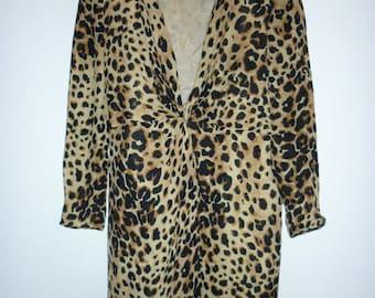 Stanley Sherman silk chique leopard dress | US size 10 | fits M / L