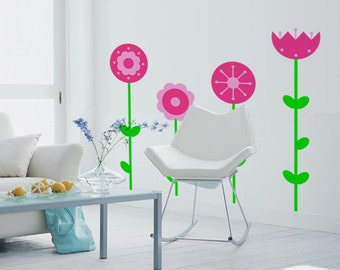 Wall decal Flower Garden, Flower wall sticker, Floral wall sticker, Vinyl wall sticker, Wall stencil, Wall decoration
