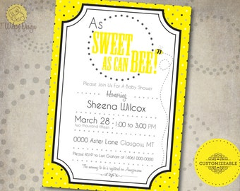 Printable As Sweet As Can Bee Baby Shower Invitation- Boy or Girl