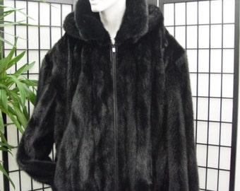 Refurbished new black mink  fur bomber jacket w/hood for men man size all custom made
