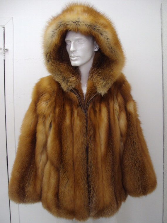 Items similar to Brand new red fox fur jacket w/hood for men man ...