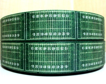1 inch Football Field Green Sports Printed Grosgrain Ribbon for Hair Bow