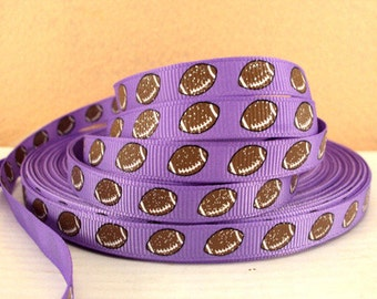3/8 inch Football balls with glitter on Lavender Sports Printed Grosgrain Ribbon for Hair Bow