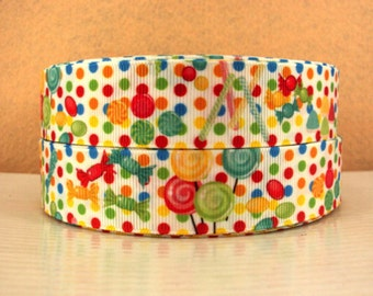 1 inch candy on COLORFUL POLKA DOTS - printed grosgrain ribbon