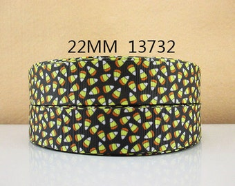 1 inch HALLOWEEN TINY candy corn on BLACK - 13732 - printed grosgrain ribbon