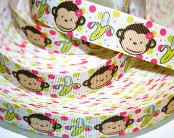 7/8 inch Cute Monkey - I Love Bananas Printed Grosgrain Ribbon for Hair Bow
