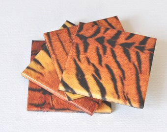 Tiger Pattern Ceramic Coaster Set of 4, Tile Coasters Tiger, Drink Coasters Set of 4, Table Coasters