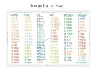 BIBLE IN A YEAR - Reading Schedule Bookmark - Instant Downlaod
