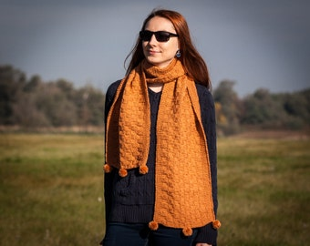 Light Brown Pompom Shawl / Hand Knit Long Shawl / Honey Colour Long Neckwarmer / Fall Winter Neckwear Fashion / Only One Original Available