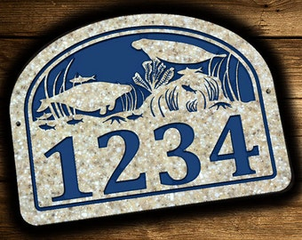 Address Plaque 10.5 x 14 Manatee Star Fish Coral Personalized Outdoor House Number Address Sign Plaque Home Decor Corian Street Address Sign